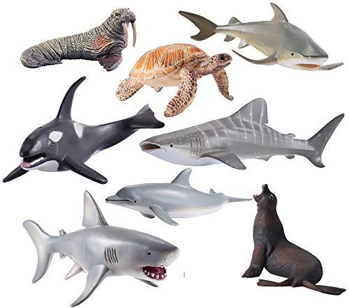 Sea Animals Figure Toys 8 Pcs Set, Realistic Ocean Creatures Action Models, Kids Education Cognitive Toy