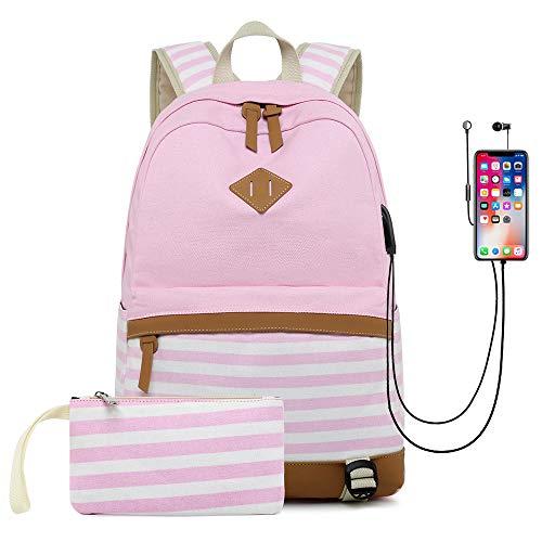 BAACD Junge Mädchen Rucksack USB Schultasche Reiserucksack University Campus Student Leichte wasserdichte Picknickrucksack mit großer Kapazität 2er-Set Schultasche-Pink