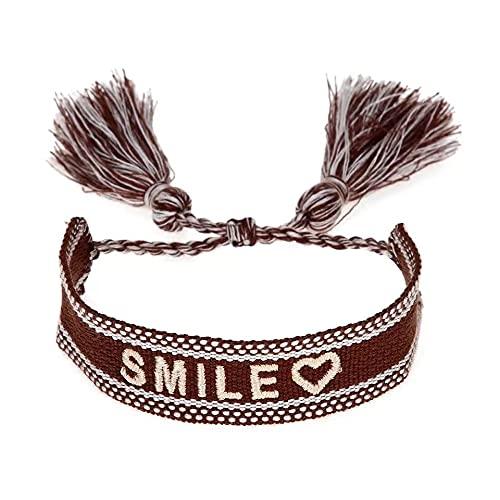 stickerbeauty Pulsera unisex de la amistad, de tela, con bordado SB070421A1 Marrón_Smile Talla única