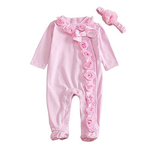 MIOIM Newborn Baby Girls Cotton Bodysuit Lace Flower Romper Front Buttons Jumpsuit (1-3M)