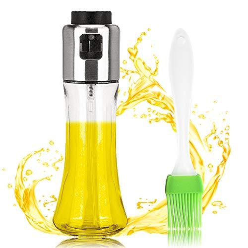 Ldawy Ölflasche Ölsprüher Flasche Ölsprühspender Glas-Ölflasche tragbare Küche Ölsprühflasche Edelstahl Olivenölspender Essig Sprayer für BBQ Salat Backen Braten Braten Gesunde Ernährung (180ml)