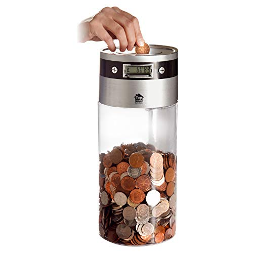 Sentik Supersized Digital UK Coin Bank Money Saving Jar Large LCD Display (Works with the new £1 coin)