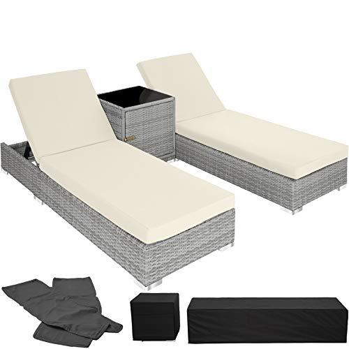 TecTake 800153 2X Tumbona Chaise Longue de Aluminio Poli Ratán + Mesa de Jardín + 2 Set de Fundas Intercambiables + Funda Completa (Gris Claro | No. 403770)