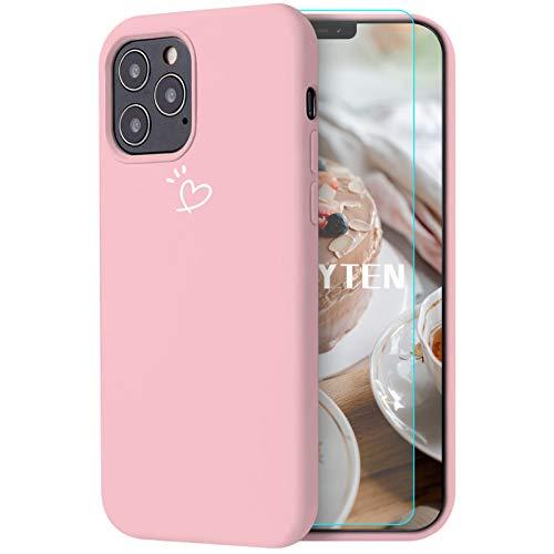 Feyten Hülle Kompatibel mit iPhone 12 Pro Max (6,7 Zoll) [mit Displayschutz], Hülle Ultra Dünne Silikon Handyhülle Schutz mit Liebe Musterdruck Weich TPU Silikon Schutzhülle Case - Rosa