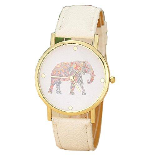 Yistu Quarz Zifferblatt Uhr, Fashion Frauen Elefant Druck Muster eingewoben PU Leder