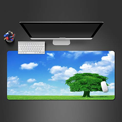 PGROOB Mouse Pad Mat Smooth Blue sky, white clouds, green trees 800x300x3 mm Gaming Office surfaces non-slip Ultra Thin Double Side Mouse Mat Waterproof rubber base Fast Accurate Control mousepad tab