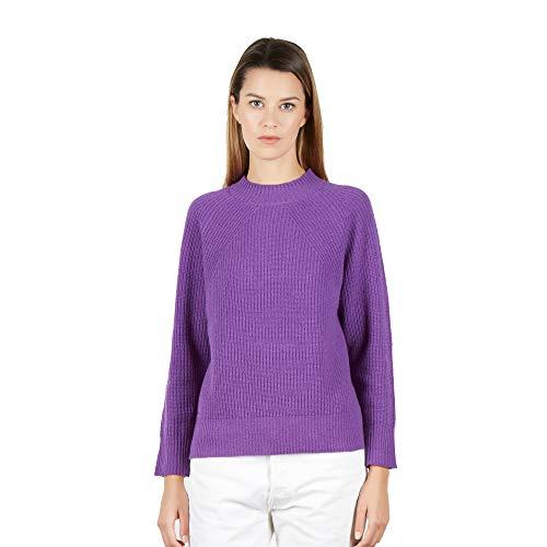 Pullover Maglione Girocollo Donna in Cashmere Blend Color Viola Taglia M