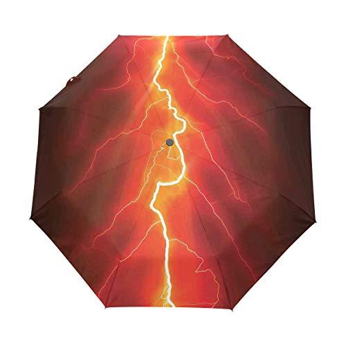 SUHETI Regenschirm Taschenschirm,Bolzen gegabelt gegen dunklen Himmel Gewitter Intensive elektrische Strahlen Thema Natur,Auf Zu Automatik,windsicher,stabil