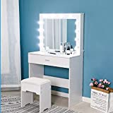 Riforla Vanity Set with Lighted Mirror, Makeup Vanity Dressing Table Dresser Desk with Large Drawer for Bedroom, White Bedroom Furniture(12 Cool LED Bulbs)