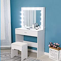 Modern 12 LED Lighted Vanity Table Set with Huge Mirror and Drawer Makeup Desk- sleek and simply, contributes both fashion and practicality to your bedroom or changing area LARGE CAPACITY - Big drawer and spacious tabletop bring you ample storage spa...