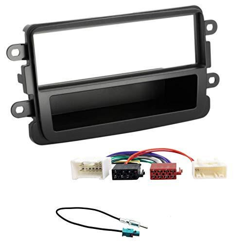 Sound-way Kit Montaggio Autoradio, Mascherina 1 DIN, Cavo Adattatore Connettore ISO, Adattatore Antenna Fakra amplificato, compatibile con Dacia Duster, Sandero