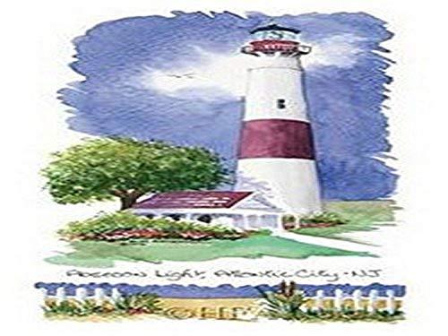 Buyartforless Haddad's Fine Art Absecon Light Lighthouse Poster Print by Kim Attwooll 7x12