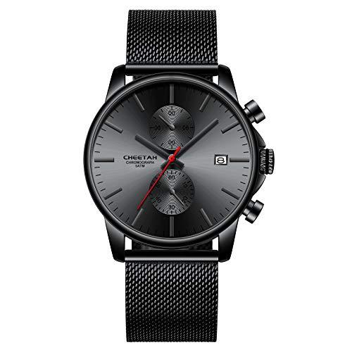 Herrenuhren Mode Sport Quarz Analog Schwarz Mesh Edelstahl wasserdichte Chronograph Armbanduhr, Auto Date in Rot Zeigern