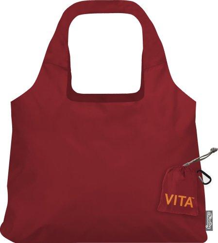 ChicoBag VITA Wiederverwendbare Einkaufstasche mit angenähter Tasche und Karabinerhaken, kompakt, Designer-Schultertasche, Rot