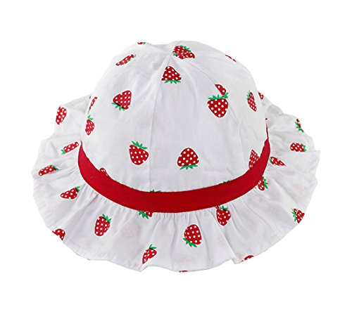 XueXian(TM) Baby Mütze Erdbeere Eimer Hut Fischerhut Sommer UV-Schutz Sonnenhut(Kopfumfang 40-44 cm)