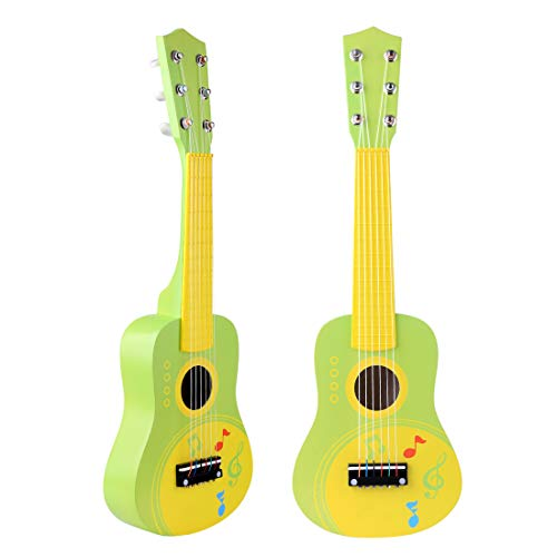 LVPY Kindergitarre, Gitarre mit Motiv Musikinstrument Spielzeug Kinder ab 3 Jahre - Grün