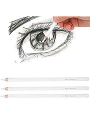 3 piezas de lápiz de carbón blanco, lápiz de dibujo profesional no tóxico Lápices de dibujo Herramientas para suministros de bellas artes