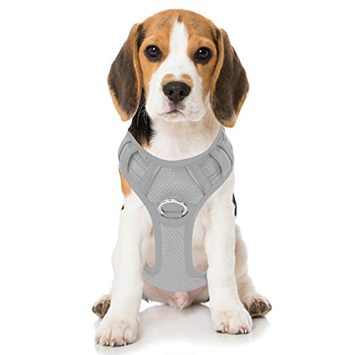 BARKBAY No Pull Dog Harness Front Clip Heavy Duty Reflective Easy Control Handle for Large Dog Walking with ID tag Pocket(Grey,M)