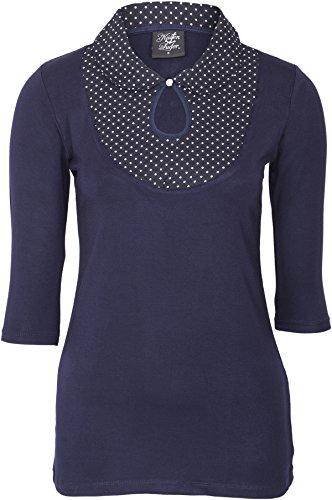 Küstenluder Damen Oberteil Sheron Punkte Bubikragen Shirt (L, Dunkelblau mit weißen Dots)