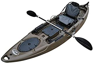 BKC RA220 11.6' Single Fishing Kayak W/Upright Back Support Aluminum Frame Seat, Paddle, Rudder Included Solo Sit-On-Top Angler Kayak