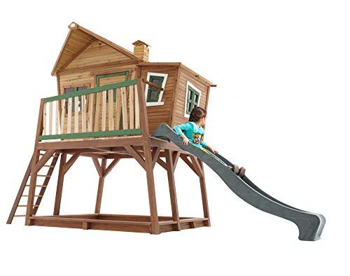 AXI Spielhaus Holz Kinderspielhaus Garten Spielhaus Rutsche Max 435 x 180 x 285 cm