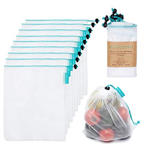Bolsas Compra Reutilizables Ecológicas Bolsa de Malla para Almacenamiento Fruta Verduras Juguetes Lavable y Transpirable Tamaño Mediano, 9 Pcs