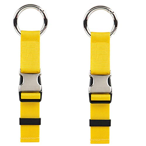 Lashing Straps and Add A Luggage Belts, Cargo Tie-Down Strap and Adjustable Suitcase Belts Travel Bag Attachment Accessories with Buckles and More Applications 2 Pack (Yellow)