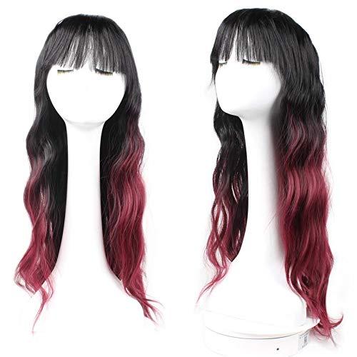 WIG MINE Perücke, schwarz, weinrot, permanente Perücke, weiblich, flauschig, natürlicher Pony, langes, lockiges Haar, rauer Mais