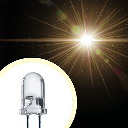 Lumetheus LED 5mm Farbe warm weiß 10000 mcd 20 Stück Leuchtdioden 3V / 12V weiße Diode 2 Pin LEDs + 12V Widerstand