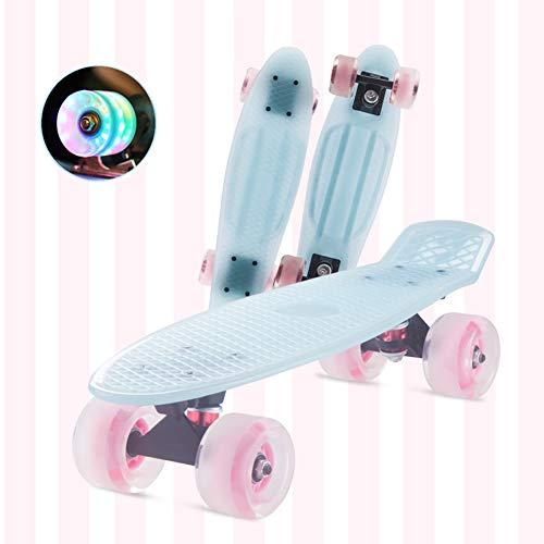 DUANYU Penny Board, 22 Zoll Pennyboard Pastel Skateboard Erwachsene Für Kinder, Tragbares Cruiser Skateboard Mit Leuchtendem Rad, Für Teenager Anfänger Mädchen Jungen (Warm Blue)
