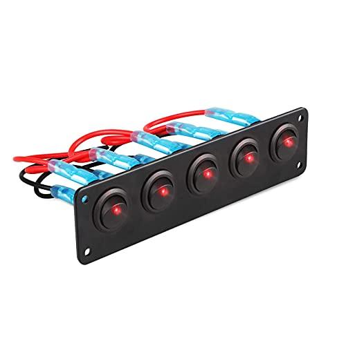 5 Pander 3 Pin Rocker Shutter SHIRN ON-Off ON-Off Toggle Switches para camión de Remolque de vehículos de automóvil SUV Barco Marino RV Barco 12V / 24V 20A,Rojo