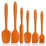 BINHAI Juego de espátulas de silicona de – Naranja 6 piezas de espátula de goma antiadherente con núcleo de acero inoxidable – Espátula resistente al calor utensilios de cocina para cocinar