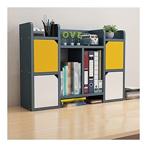 Estantería para mostrador de estanterías mini organizador de múltiples capas para oficina, hogar, escuela, estante (color: azul B)