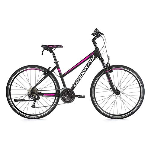 28 Zoll Leader Fox Toscana Lady Cross Bike MTB Shimano 27 Gang V-Brake schwarz pink 46cm