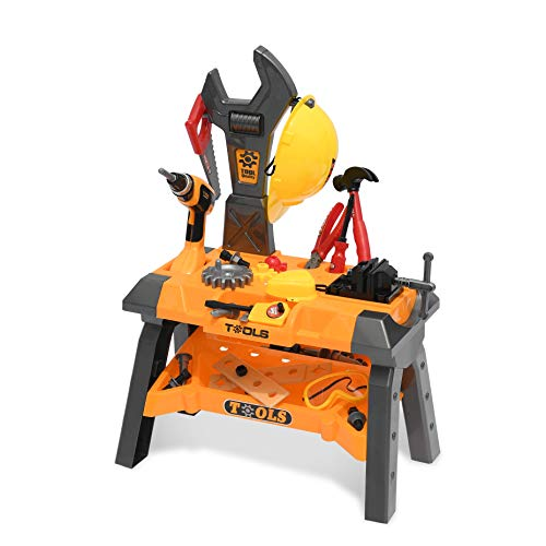 Kids Toy Tool Workbench, 53 Pieces Kid Power Construction Work Shop Toy Tool Set with DIY Tools Drill for Toddlers