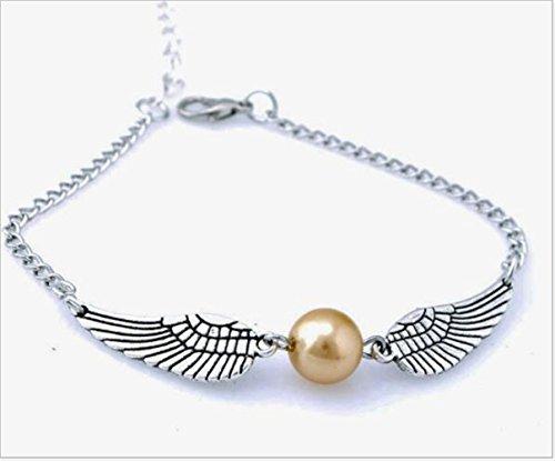 MLM Multistrand alas de ángel con perla de imitación de oro pulsera Reliquias de la muerte y clave pulsera negro pulsera Amistad Pulsera (Pack de 2)