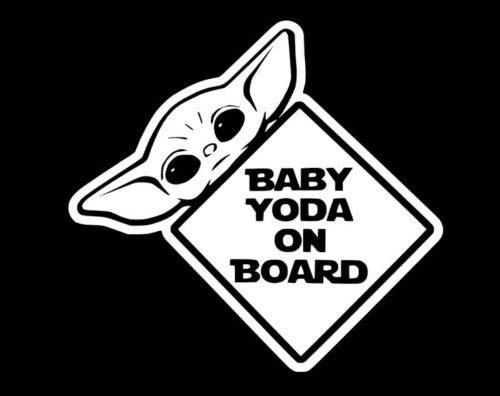 Baby yoda on board, white, cute, meme funny decal sticker,car,laptop