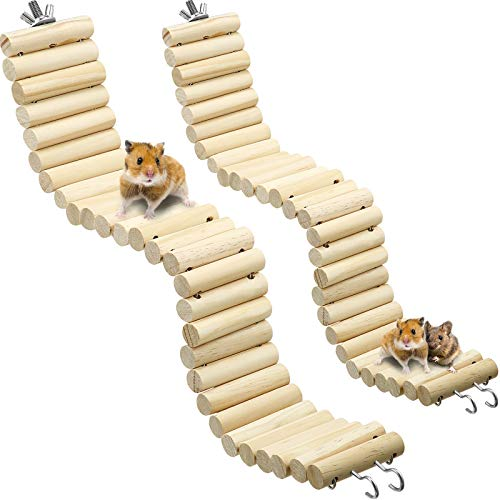 Sumind Wooden Pet Ladder Bridge 2 Pieces Soft Animal Bridge Toy Bendable Cage Habitat Toy for Hamster Mouse Chipmunk and Other Small Animals