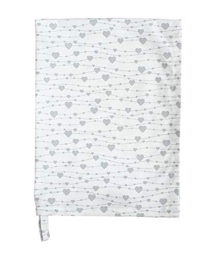 Krasilnikoff - Geschirrtuch, Trockentuch, Küchentuch - Hearts on a String, Herzchen - weiß, grau - Baumwolle - 70 x 50 cm - 1 Stück