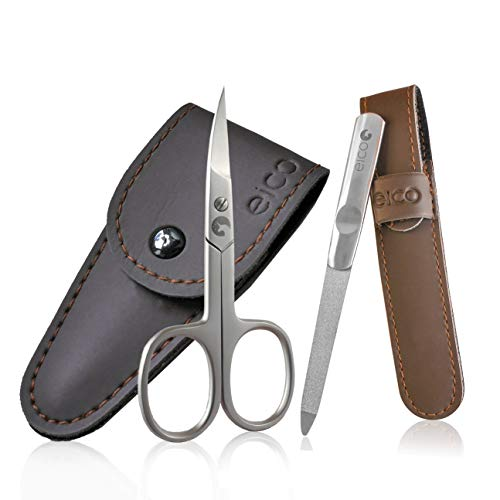 Eico Profi Maniküre Set - Extra scharfe Premium Nagelschere und Nagelfeile inkl. 2 Etuis - Für Finger- und Zehennägel - auch Linkshänder geeignet