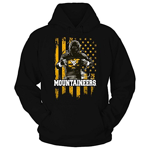 FanPrint West Virginia Mountaineers Playera – Playe - 26658-181-s, S, Negro (Hoodie Black)