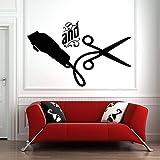 Etiqueta de la pared del salón de pelo arte tijeras herramienta diseño de la pared calcomanía vinilo decoración barbería patrón de papel tapiz