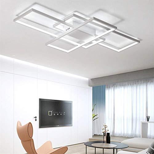 LED-Deckenleuchte Wohnzimmer Lampe dimmbar mit Fernbedienung 3000K-6000K, New Entwurf Unregelmäßige Rechteckige Deckenlampe Acryl Küche Schlafzimmer Energiespar dekorative Lampen,Weiß,140*80CM/115W