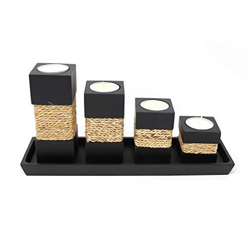 Trendy Wood & Light Step schwarz Kerzenhalter Teelicht Dekoartikel Holz Tischdekoration Kerze Schale (schwarz)