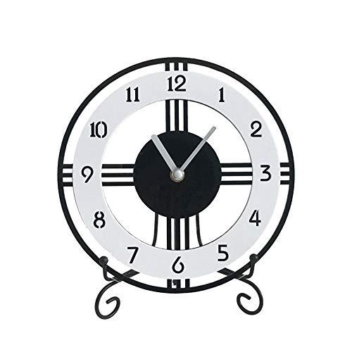 Qddan Kaminuhr Arabischen Ziffer Zifferblatt Runde Kamin Uhren Acryl Einfache Tischuhr Mute Desktop-Batteriebetriebene, Dekor-Geschenk (Farbe : Black and White, Größe : S)