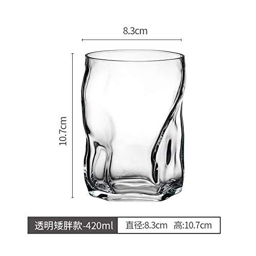 Glaseres Doppelwandige Kreative Farbige Transparente Glashaushalts-Hitzebeständige Tee-Schalen-Saft-Schalen-Kalte Trinkende Schale, Farbloser Dumpy 420Ml Einzelner Zweig