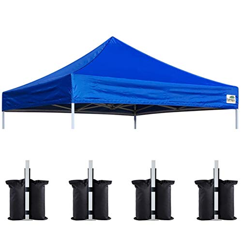 Eurmax New 10x10 Pop Up Canopy Replacement Canopy Tent Top Cover, Instant Ez Canopy Top Cover ONLY, Choose 30 Colors,Bonus 4PC Pack Canopy Weight Bag (Blue)