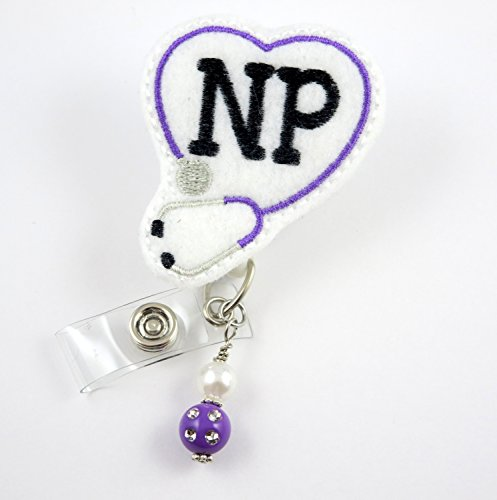 NP-Nurse Practitioner - NurseBadge Reel - Retractable ID Badge Holder - Nurse Badge - Badge Clip - Badge Reels - Pediatric - RN - Name Badge Holder