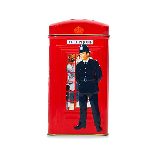 Ahmad Tea 25 Teabag Caddy Gift Tin, London Telephone Box, English Breakfast, 1.7 Ounce