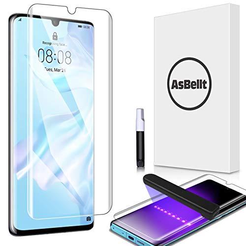 AsBellt Protector Pantalla de Huawei P30 Pro (Pegamento en Toda la Pantalla) (9H Dureza) (Alta sensibilidad),Cristal Vidrio Templado/Protector de Pantalla para Huawei P30 Pro